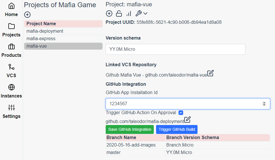 Setting GitHub Actions Integration for the mafia-vue project in Reliza Hub