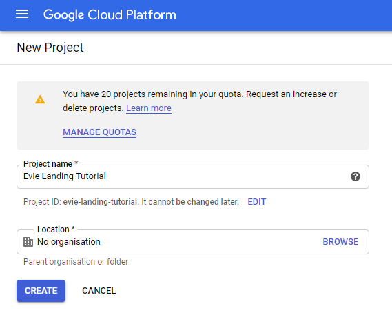Create New Project Form on Google Cloud Platform