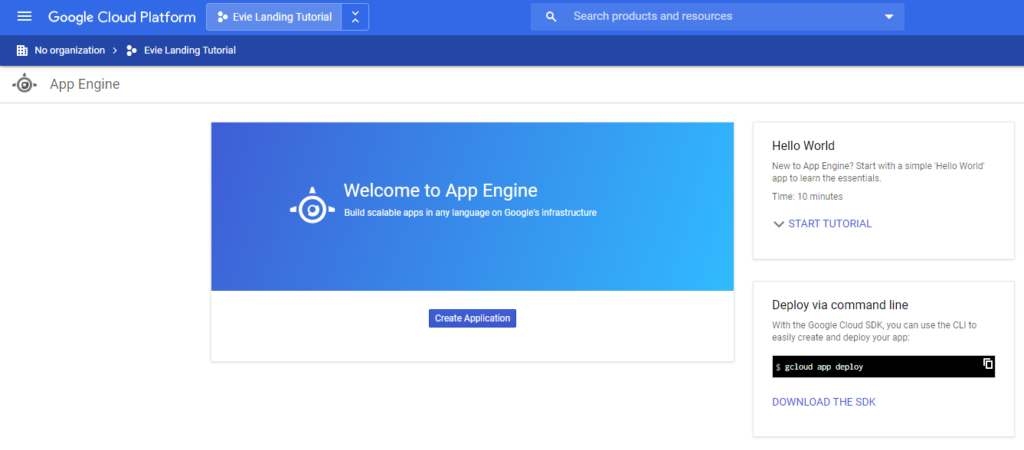 Created New Project on Google App Engine view