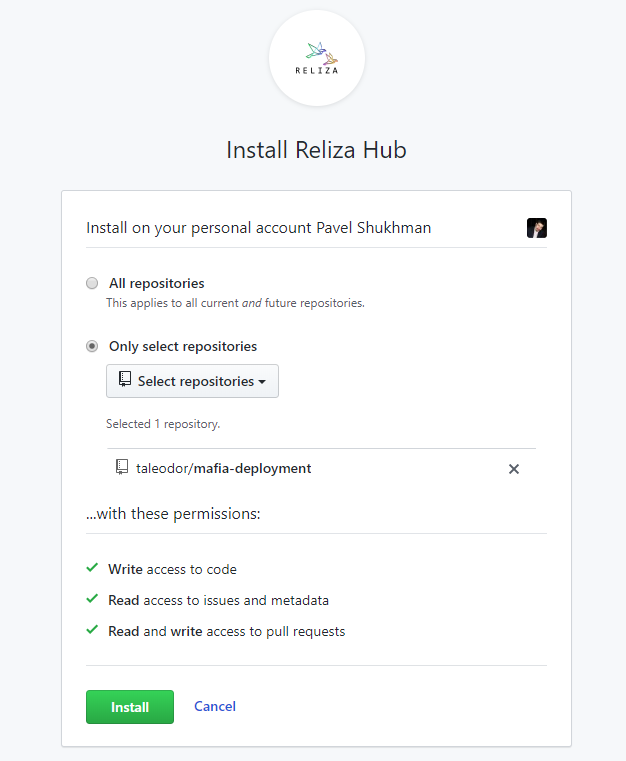 Install Reliza Hub on GitHub - Select Repositories