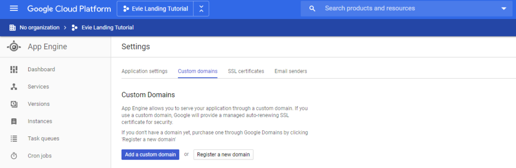 Google App Engine - Custom Domains Menu