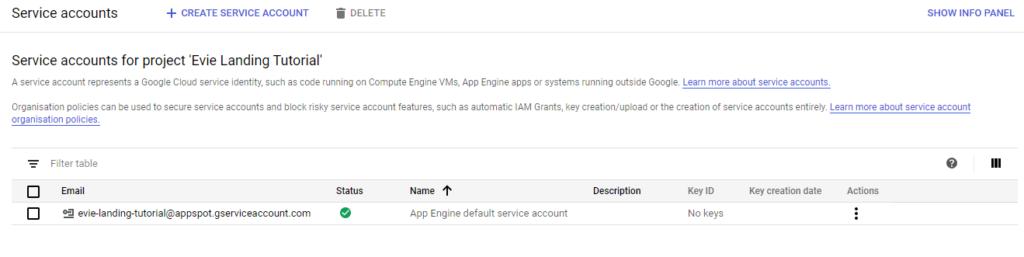 Google App Engine - Menu Listing Service Accounts