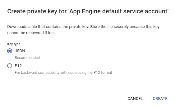 Create Private Key for Google App Engine Service Account Menu