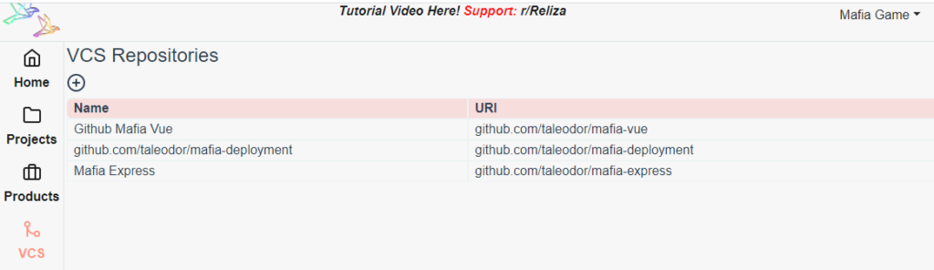 Mafia Game VCS Repositories in Reliza Hub