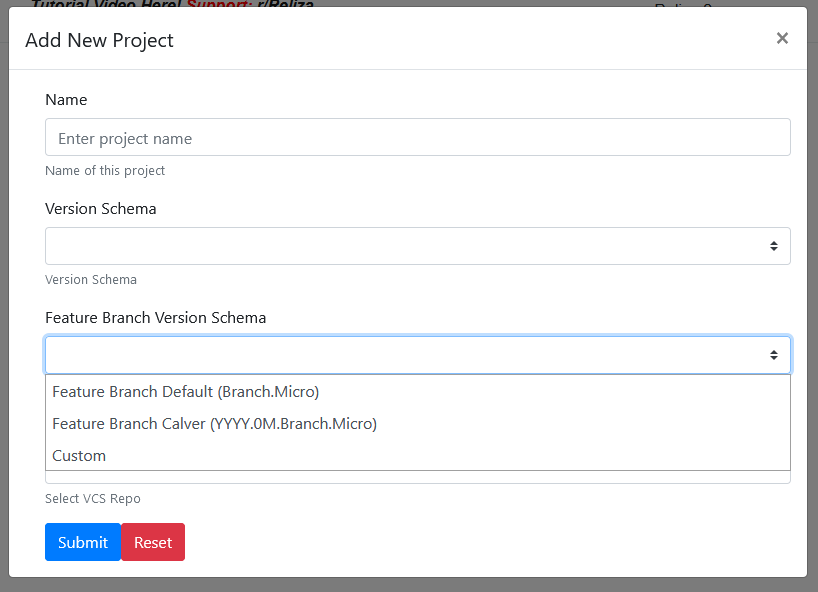 Feature branch versioning in Reliza Hub